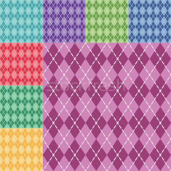 Vector arqyle seamless pattern in eight different colors