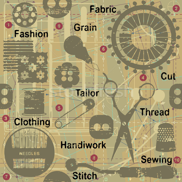 Retro seamless pattern with sewing and tailoring related symbols and words 1 Stock photo © sanjanovakovic