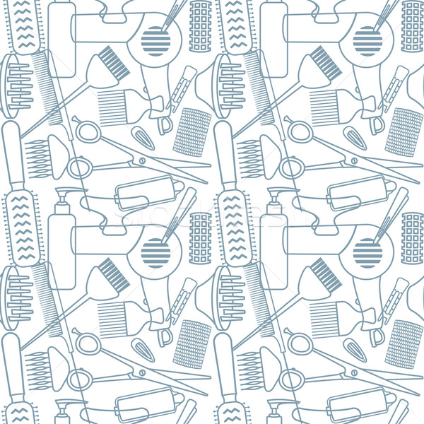 Seamless pattern with hairdressing related objects Stock photo © sanjanovakovic