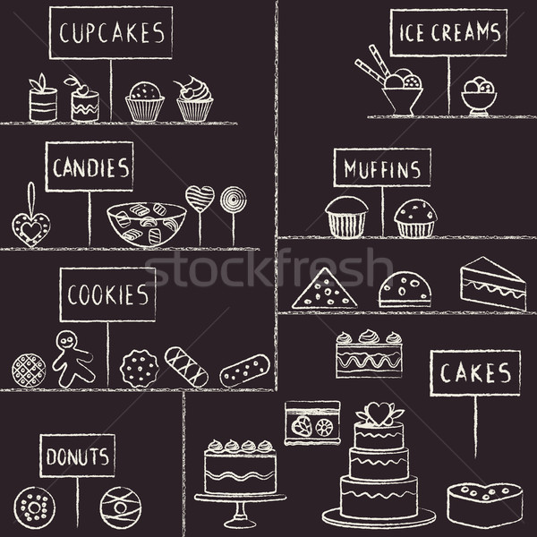 Hand drawn chalk stroked confectionery set on blackboard   Stock photo © sanjanovakovic