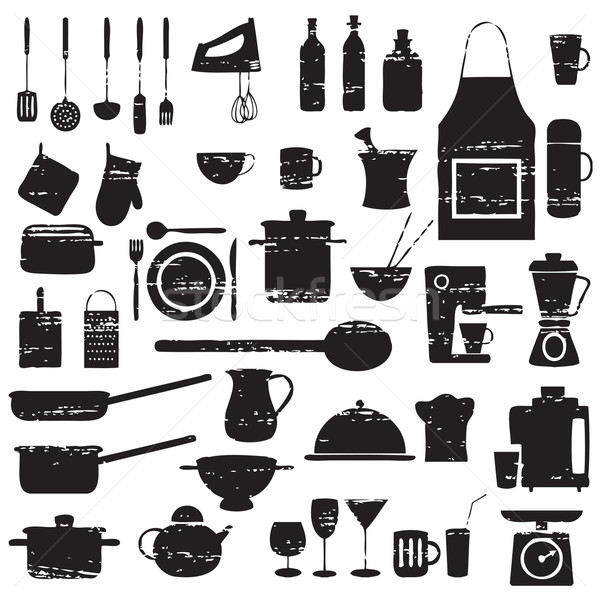 Scratched kitchen and restaurant related silhouettes Stock photo © sanjanovakovic