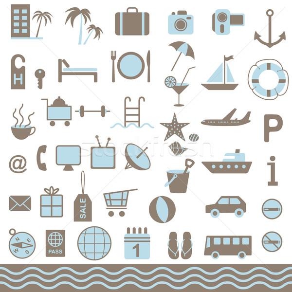 Summer tourism icons set  Stock photo © sanjanovakovic