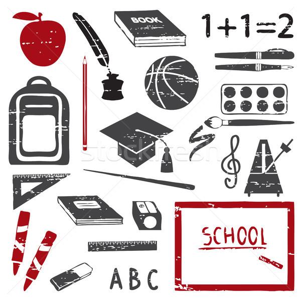 Scratched school icons silhouette set Stock photo © sanjanovakovic