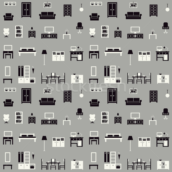 Furniture vector seamless pattern 1 Stock photo © sanjanovakovic
