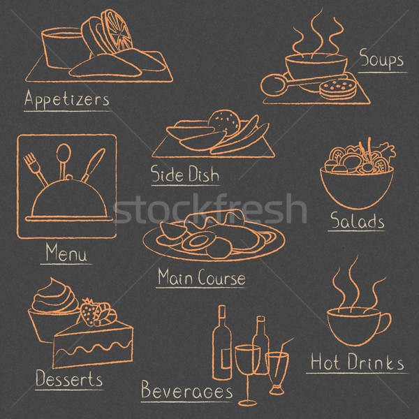 Restaurant menu design elements on blackboard Stock photo © sanjanovakovic