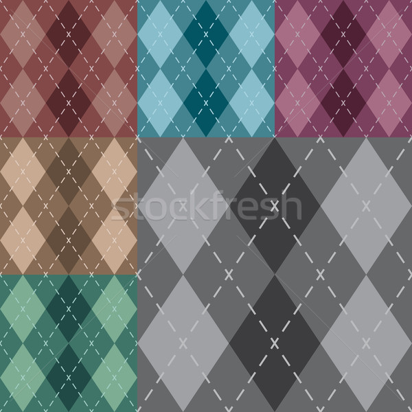 Vector argyle seamless pattern in six different neutral colors. 