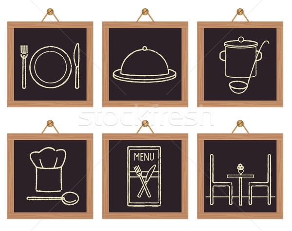 Restoran işaretleri siyah tatlı Stok fotoğraf © sanjanovakovic