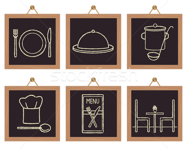 Stock photo: Restaurant signs on black framed background