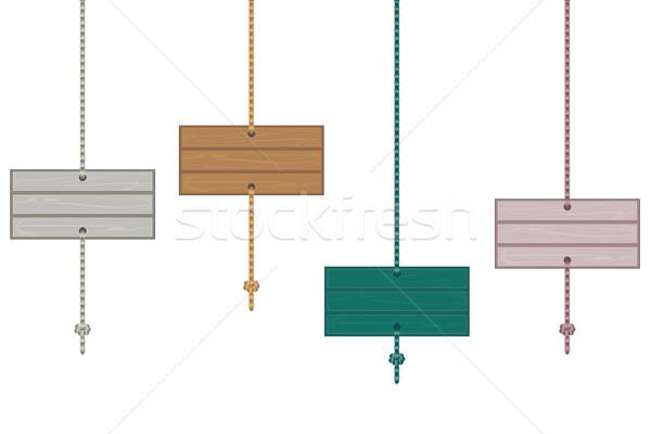 бюллетень подвесной Веревки четыре древесины Сток-фото © sanjanovakovic