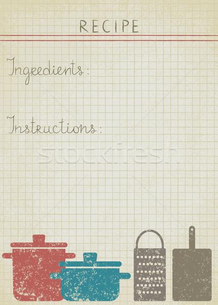 Klasszikus főzés receptek régi papír háttér konyha Stock fotó © sanjanovakovic