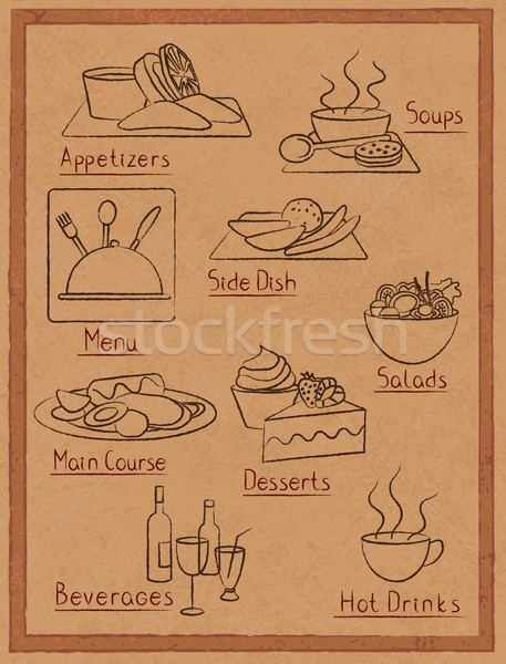 hand drawn restaurant menu elements on old paper Stock photo © sanjanovakovic