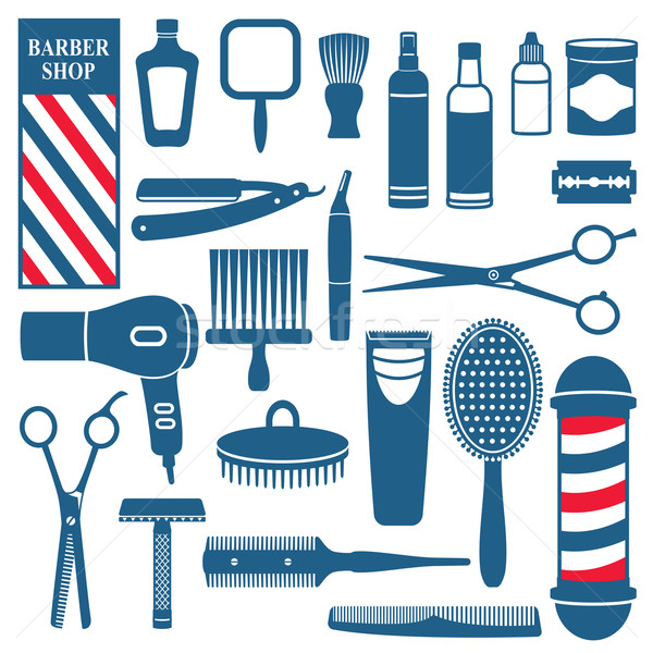 Barber and hairdresser related icons set Stock photo © sanjanovakovic