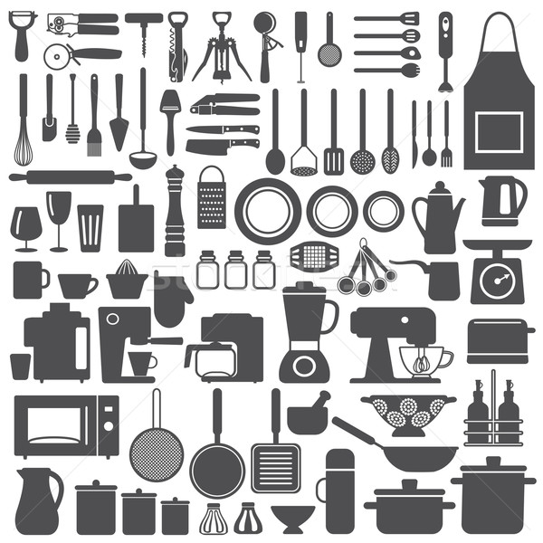 Kitchen related utensils and appliances silhouette icons vector set Stock photo © sanjanovakovic