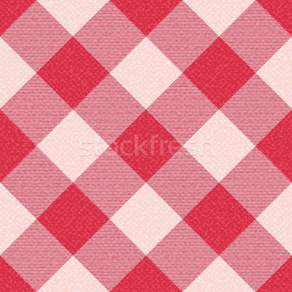 Red textured diagonal gingham inspired pattern background 1 Stock photo © sanjanovakovic