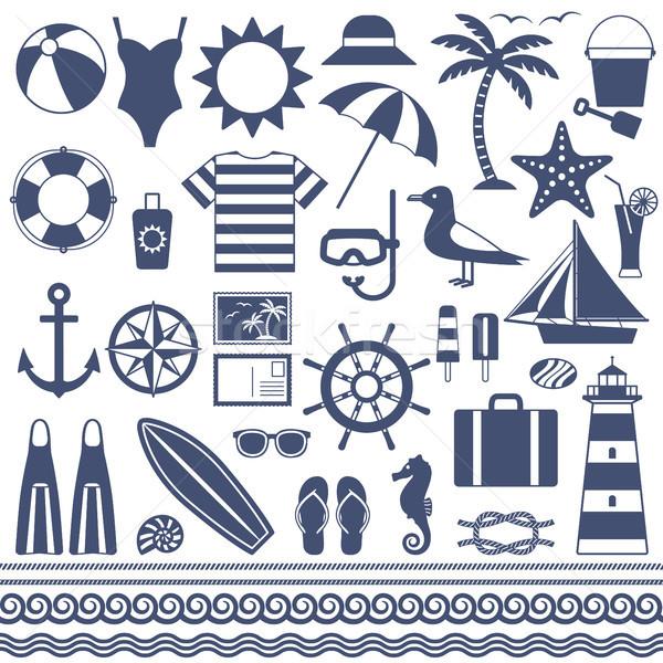 Stockfoto: Zee · zomer · vector · silhouet · iconen · vakantie