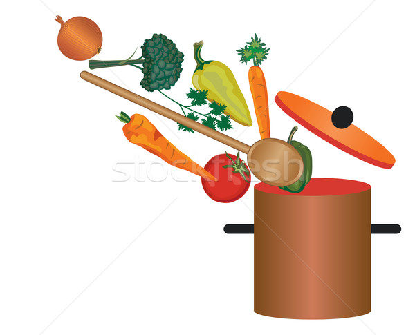 Pot and vegetables Stock photo © sanjanovakovic