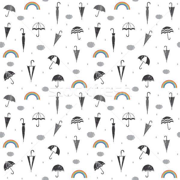 Scratched vector seamless pattern background with rain and umbrellas   Stock photo © sanjanovakovic