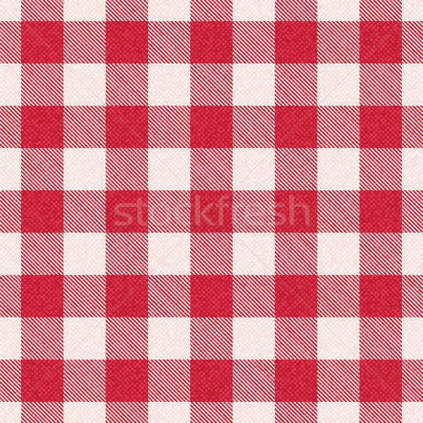 Red and white textured plaid gingham vector pattern background 3 Stock photo © sanjanovakovic