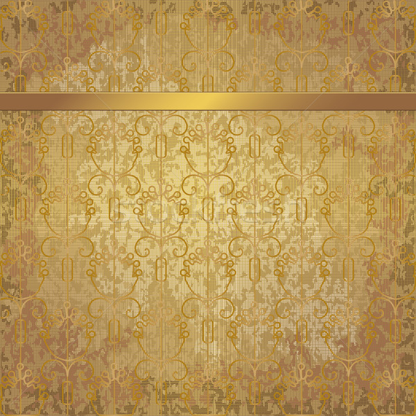 Golden vintage background with floral elements and a ribbon Stock photo © sanjanovakovic