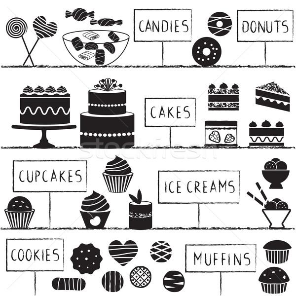 Confeitaria conjunto isolado bolos doces Foto stock © sanjanovakovic