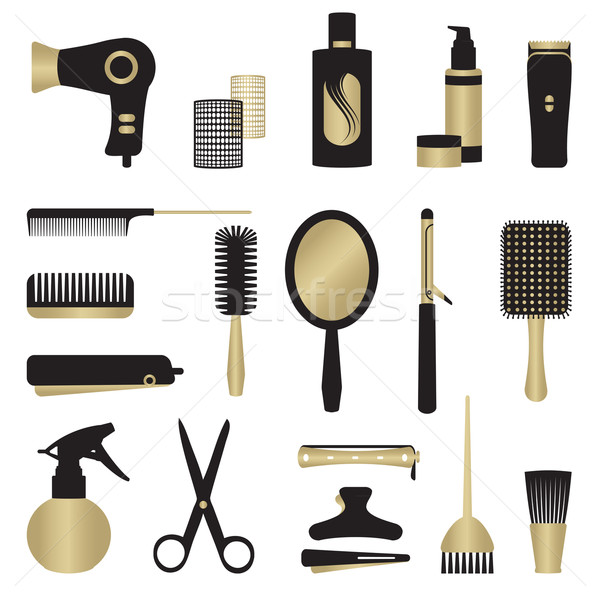 Gold and black hairdressing related objects set Stock photo © sanjanovakovic