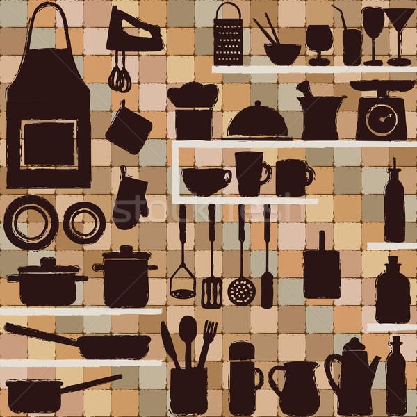 Mutfak siluet simgeler kiremitli bağbozumu gıda Stok fotoğraf © sanjanovakovic