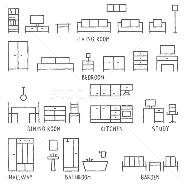 Stock photo: Hand drawn vector furniture outline icons 1