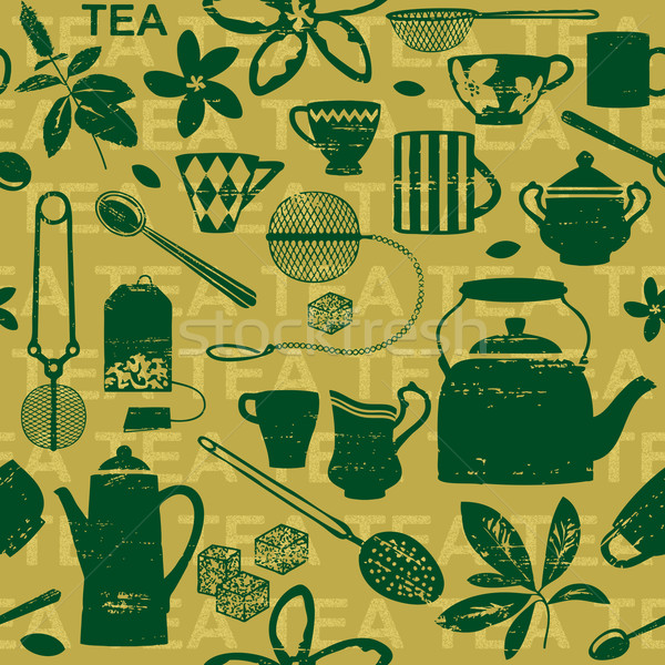 Seamless pattern with scratched tea related symbols and letters 1 Stock photo © sanjanovakovic