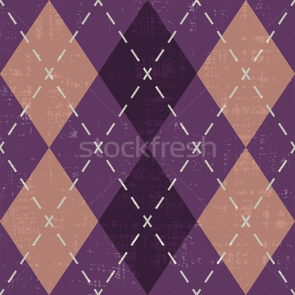 Scratched argyle pattern inspired vector background