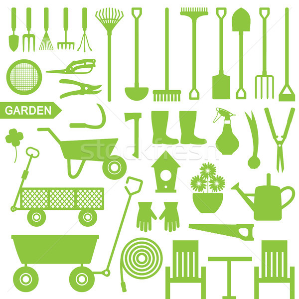 Jardinería vector iconos silueta establecer Foto stock © sanjanovakovic