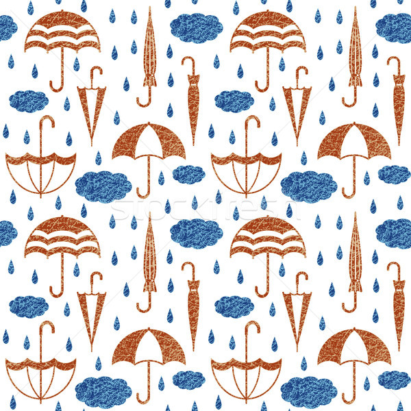 Umbrellas with clouds and raindrops vector seamless pattern background 1 Stock photo © sanjanovakovic