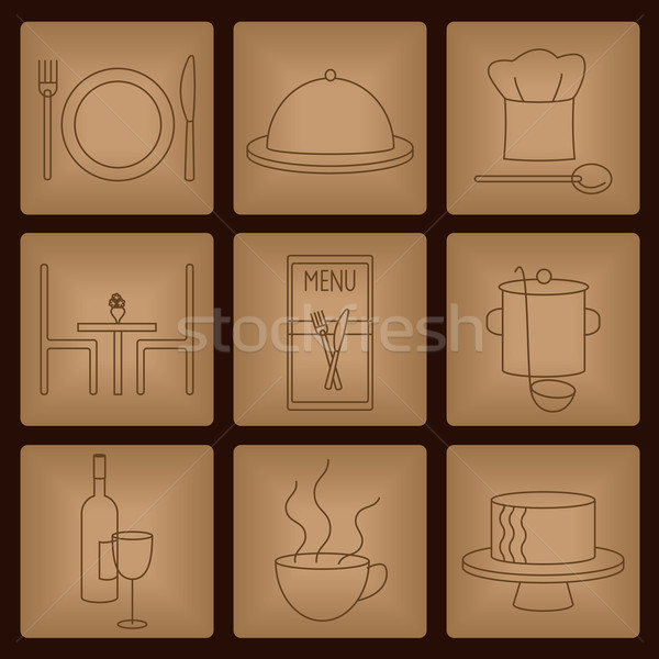 Restaurant icons on terracotta background Stock photo © sanjanovakovic