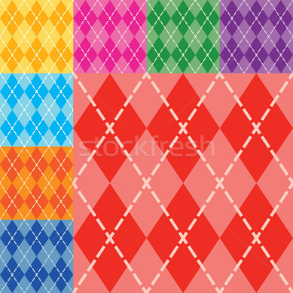 Vector argyle seamless pattern in eight different bright colors. 