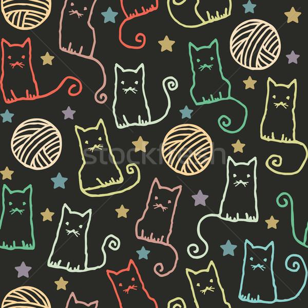 Wektora kotów wełny Zdjęcia stock © sanjanovakovic