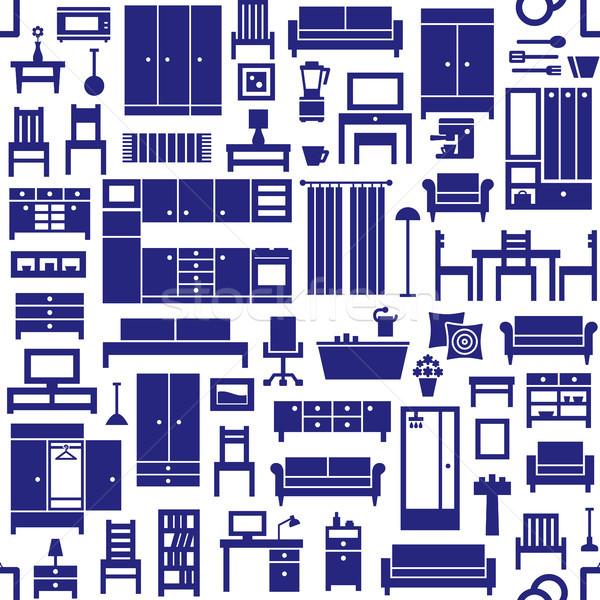 Furniture and home equipment related vector seamless pattern 1 Stock photo © sanjanovakovic