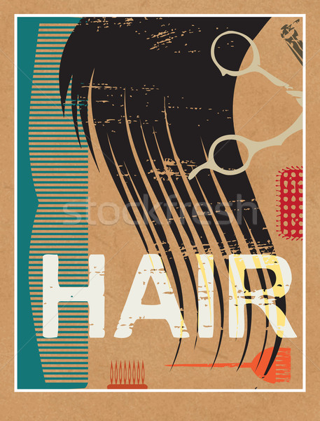 Stock photo: Scratched hair related poster on paper background 3