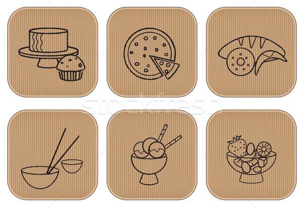 レストランの食べ物 デザート 標識 アイコン 段ボール ストックフォト © sanjanovakovic