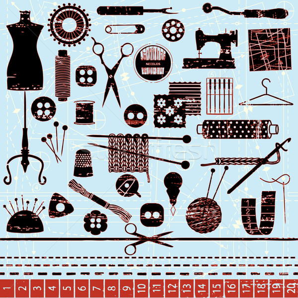 Scratched sewing and needlework symbols Stock photo © sanjanovakovic