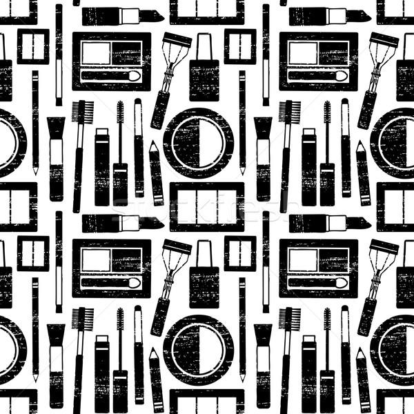Scratched seamless pattern with makeup objects Stock photo © sanjanovakovic