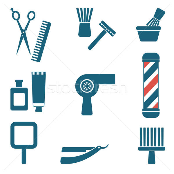 Fodrász fodrász sziluett ikon szett terv férfiak Stock fotó © sanjanovakovic
