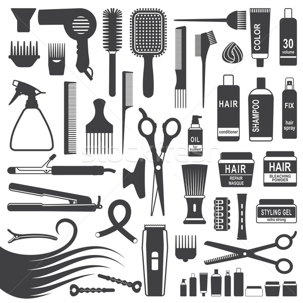 Hair styling silhouette icons set Stock photo © sanjanovakovic