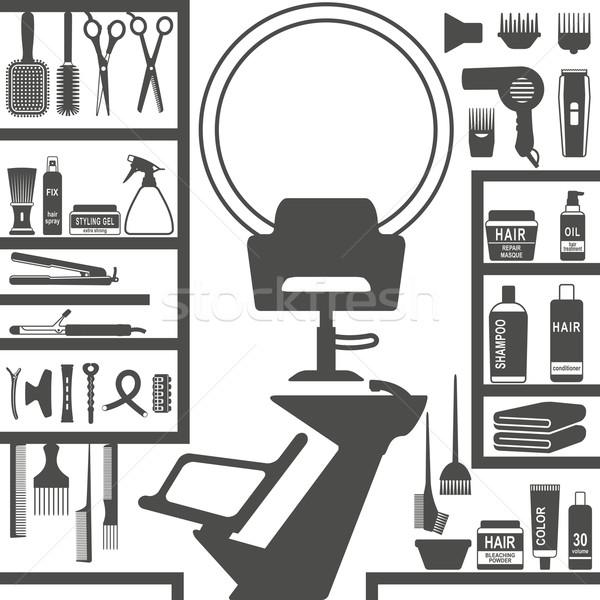 Hair styling salon silhouettes Stock photo © sanjanovakovic