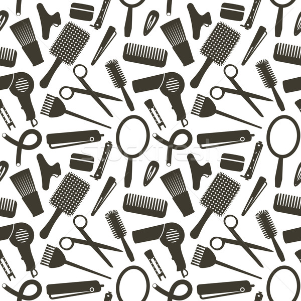 Seamless pattern with hairdressing related symbols Stock photo © sanjanovakovic