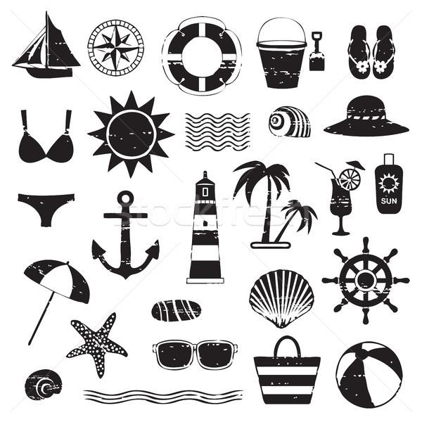 Scratched sea symbols set Stock photo © sanjanovakovic