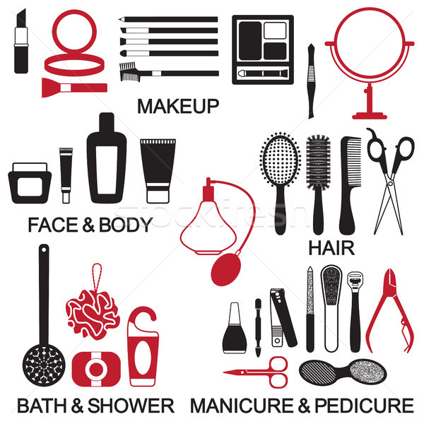 Stock photo: Vector beauty and care cosmetic products silhouette icons set