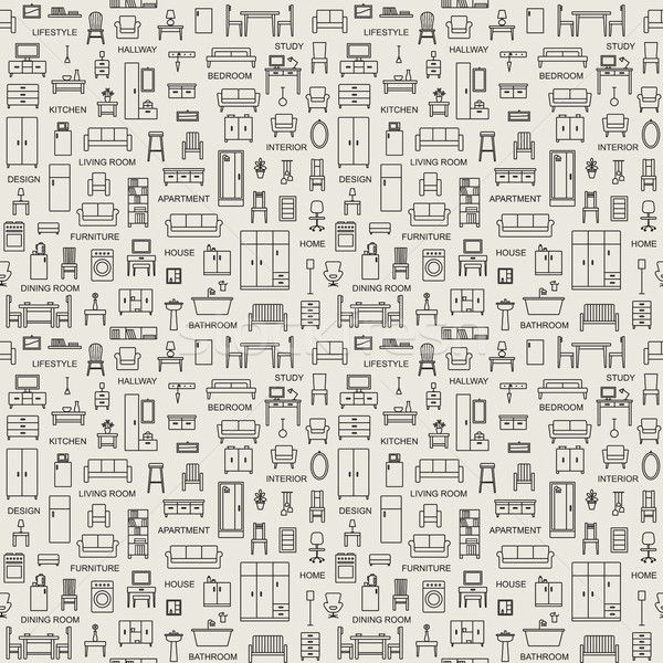 вектора домой мебель иконки Сток-фото © sanjanovakovic