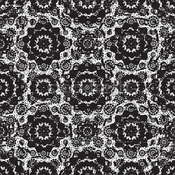 Grunge siyah beyaz dantel vektör Stok fotoğraf © sanjanovakovic