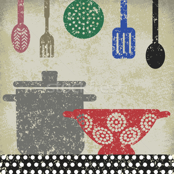 Vintage cooking related poster 5 Stock photo © sanjanovakovic