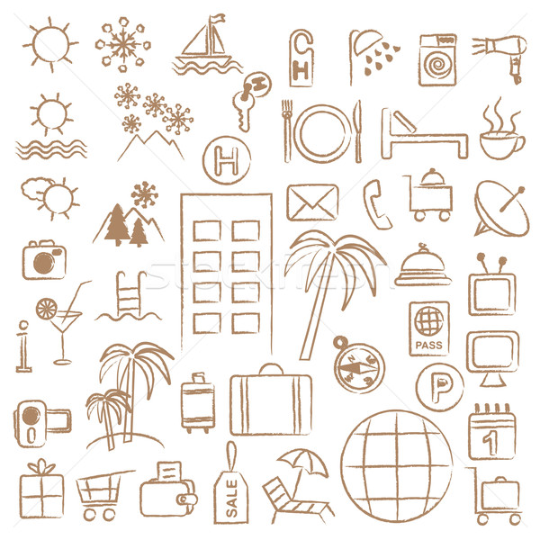Hand drawn hotel and tourism related symbols Stock photo © sanjanovakovic