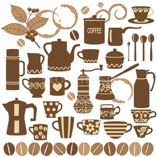 Vintage coffee symbols collection Stock photo © sanjanovakovic